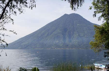 A volcano surrounding Lake Atitlan