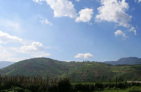 Large hills used for agriculture in central america Stockfoto
