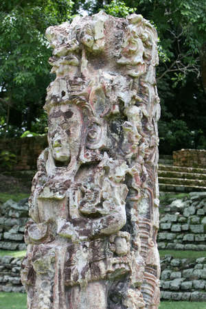 laborious: Intricate mayan carvings at the Copan Site in Honduras, Central America Stock Photo