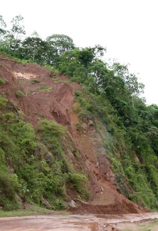 A mudslide blocks a highway in Central America