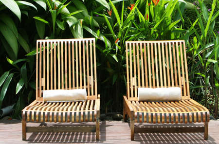 Two louge chairs await guest at a five star spa Stock Photo - 2461578
