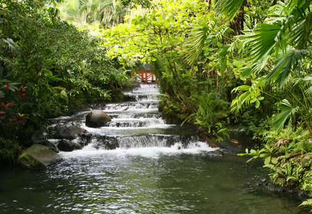 A hotspring fed stream provides warm water to bathe at this resort in Costa Rica Stock Photo
