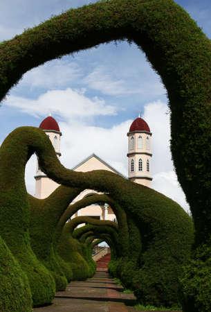 A sculpted garden in Zarcero Costa Rica.  Stock Photo