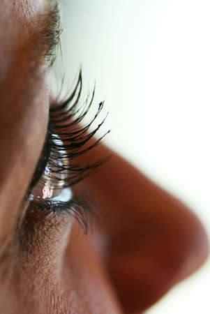 Profile shot of a girl with heavy mascara applied on her eyelashes photo