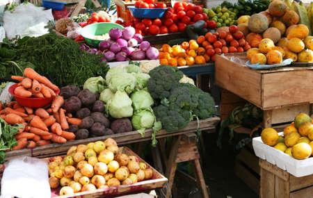 Fresh vegetables at the local market in Ecuador