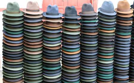 Panama hats for sale in the marketplace photo