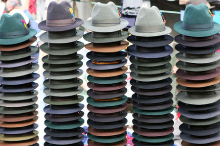 tradition: Panama style hats for sale in a marketpalce inthe highlands of Ecuador
