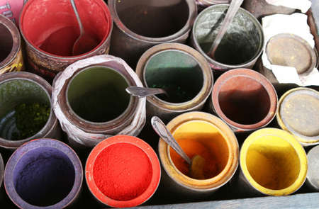dye powder: Colorful dyes for sale at a marketplace in South America Stock Photo