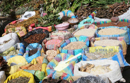 Grains and pastas for sale in a market in Ecuador photo