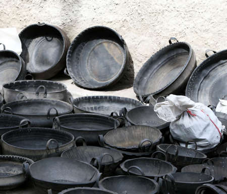 resourceful: Recycled tires see new life as giant bowls Stock Photo
