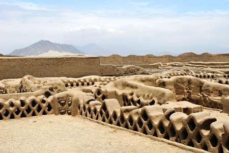 페루의 찬 찬 (Chan Chan)의 고대 유적 스톡 콘텐츠