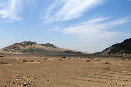 A barren desert landscape in Peru, South America