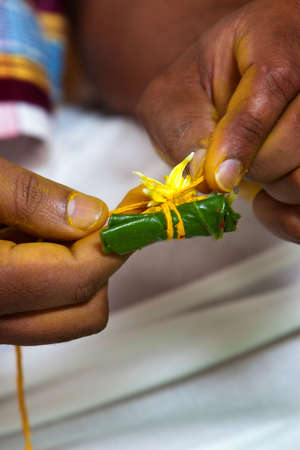 A Hindu priest prepares an areca nut wrapped in a betel leaf as part of a Bengali pre-wedding ceremony Stock Photo