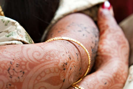 Henna tattooed arms on an Indian Bride
