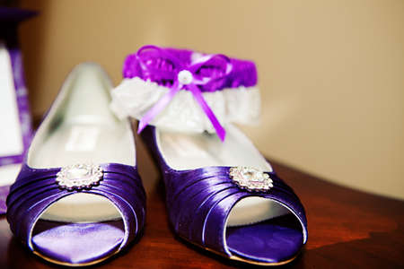 The bride's beautiful wedding day shoes photo