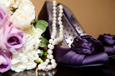 The brides beautiful wedding day shoes