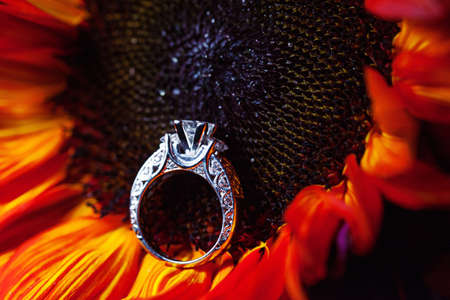 A close-up shot of a beautiful wedding ring on a sunflower