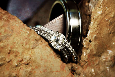 A close-up shot of beautiful wedding rings