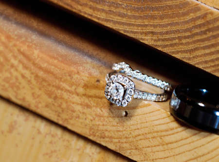 Beautiful wedding ring set in a wooden slot