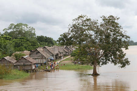 amazonas: An indigenous village in the Amazon river basin near Iquitos, Peru Editorial