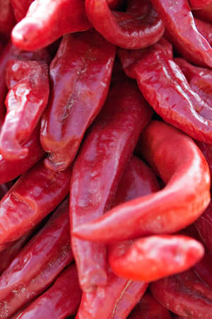Red hot chilis piled up after harvest photo