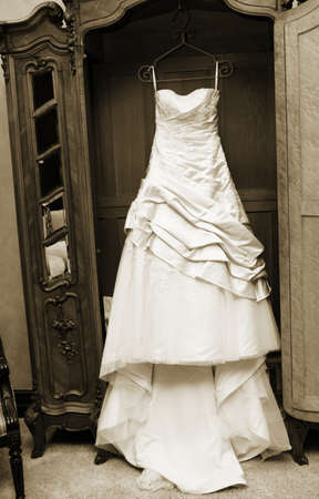 An American brides modern wedding dress on her wedding day
