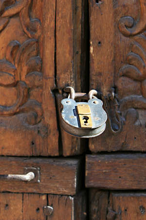 keepout: Old style padlock Inside the ancient Santa Catalina convent in Arequipa, Peru Stock Photo