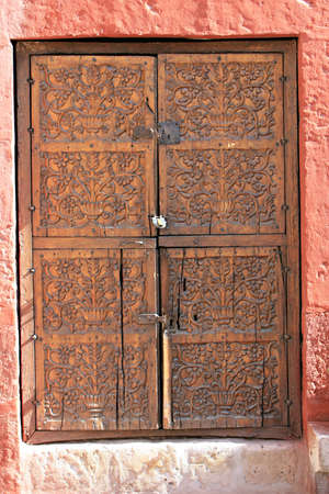 keepout: Carved wooden door - Santa Catalina Convent, Arequipa, Peru Stock Photo