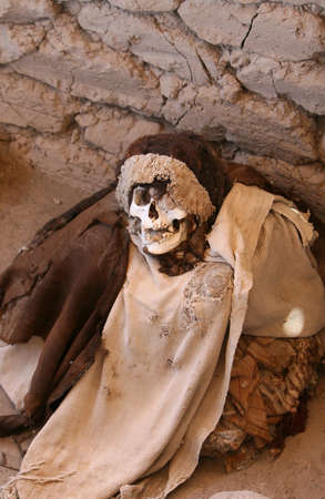 This pre-incan mummy is preserved by the dry desert air with hair intact. Skulls and bones in Chauchilla, an ancient cemetery in the desert of Nazca, Peru. The remains of many people, some still with long hair, can be seen. photo