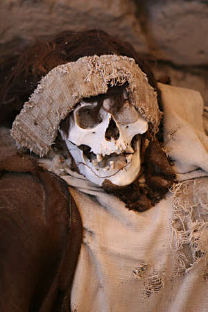 tiedup: This pre-incan mummy is preserved by the dry desert air with hair intact. Skulls and bones in Chauchilla, an ancient cemetery in the desert of Nazca, Peru. The remains of many people, some still with long hair, can be seen.