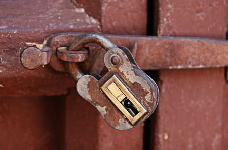 keepout: Old style padlock inside the ancient Santa Catalina convent in Arequipa, Peru