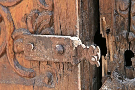 keepout: Ancient wooden door - Inside the ancient Santa Catalina convent in Arequipa, Peru