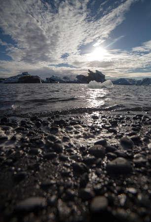 Melting glacier ice at Jokulsarlon lake caused by global warming