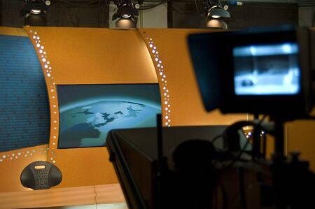 TV news studio for broadcast production Stock Photo
