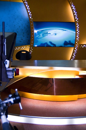 TV news studio for broadcast production Stock Photo