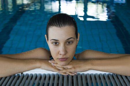 brooding: The imagined girl rests in the pool