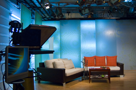 TV news profesionall studio for broadcast production Stock Photo