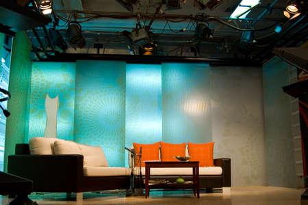 TV news profesionall studio for broadcast production Stock Photo