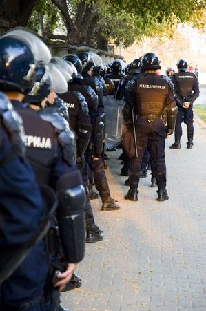Special police forces cordon at the demonstration blocking street protests Banque d'images