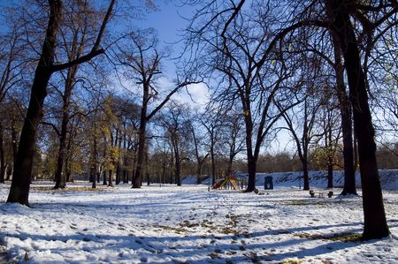 season specific: Park covered with snow - season specific concept