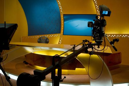 video cables: TV studio for news is prepared for the production and shooting