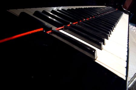 educating: A night at the symphony concert - piano keyboard Stock Photo