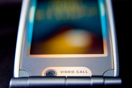 Mobile phone in close-up - video call conversation