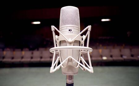 Microphone on the stage - Music and sound Stock Photo
