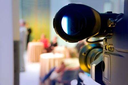 Professional digital video camera shoots the TV show Stock Photo