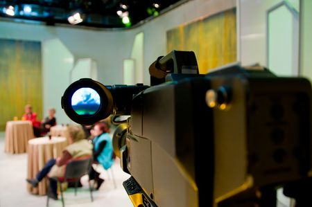 Professional digital video camera shoots the TV show Stock Photo