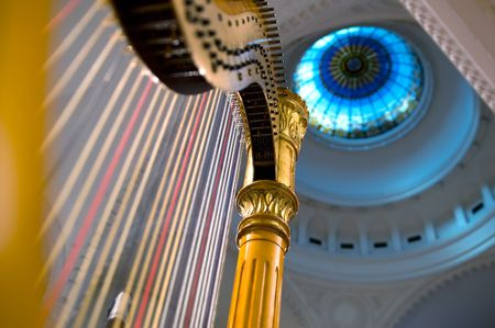 chorale: Harp strings close up - Classic music concert in synagogue Stock Photo