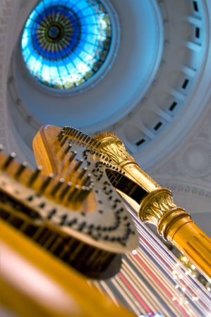 acoustics: Harp strings close up - Classic music concert in synagogue Stock Photo