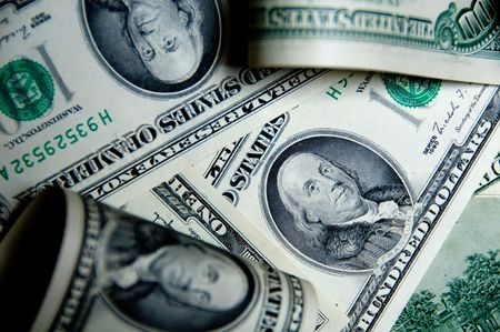 Money background of one hundred dollars $100 bills in US currency Stock Photo