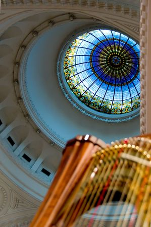 Harp strings close up - Classic music concert in synagogue Stock Photo